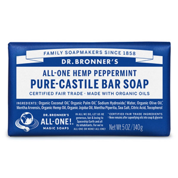 Dr. Bronner's OBPE05 Pure Castile Bar Soap, Peppermint Scent, 5 Oz