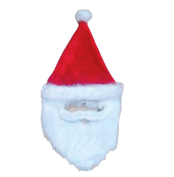 Dyno Seasonal 0408967-1CC Christmas Bearded Santa Hat, Polyester, Red