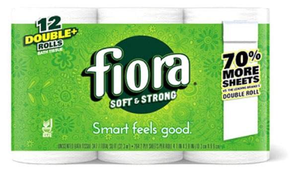 Fiora 21003 Double+ Rolls Bath Tissue, 12 Pack