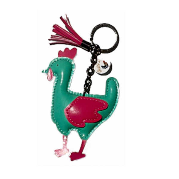Fluffy Layers FLKY102 PVC Chicken Key Chain With Tassel, Pink & Green