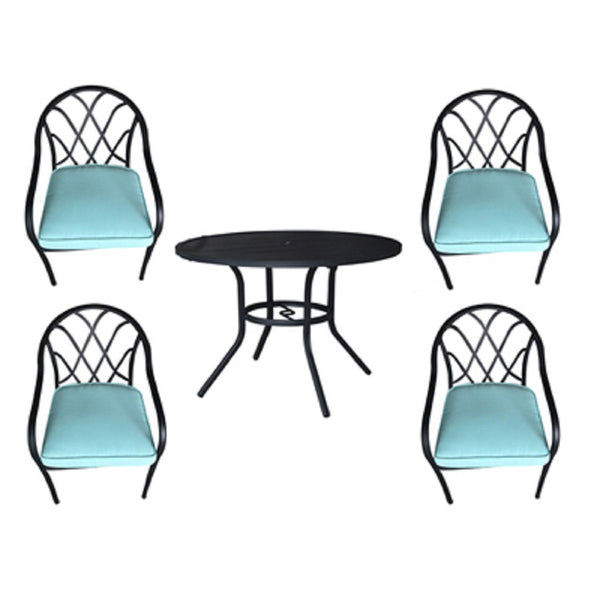 Four Seasons Courtyard IP-20S049B Steel Dining Set, 5 Piece