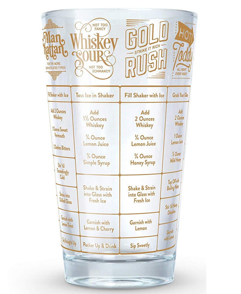 Fred 5192625 Good Measure Whiskey Recipe Glass, 16 Oz
