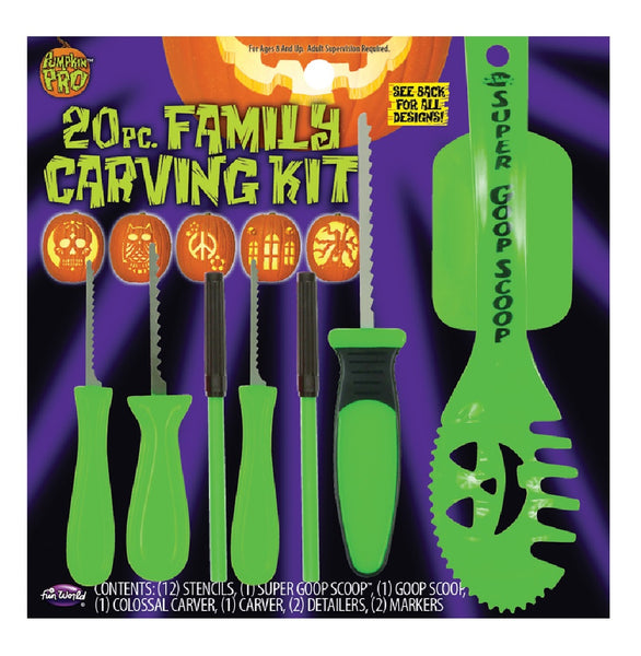 Fun World 94650 Family Pumpkin Carving Kit, Green