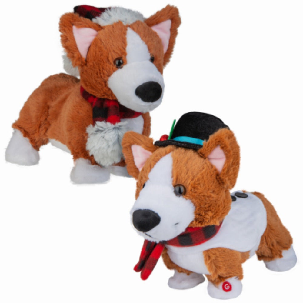 Gemmy 98841 Animated Plush Christmas Darling Dancing Corgi