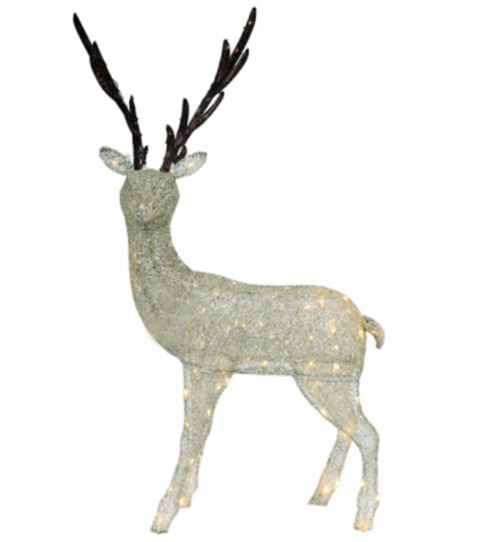 Holiday Wonderland 315-DE8377TWL Gold Fabric Mesh Standing Christmas Buck, 62 Inch
