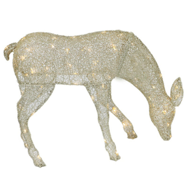 Holiday Wonderland 315-DE8378TWL Gold Mesh Fabric Christmas Grazing Doe, 38 Inch