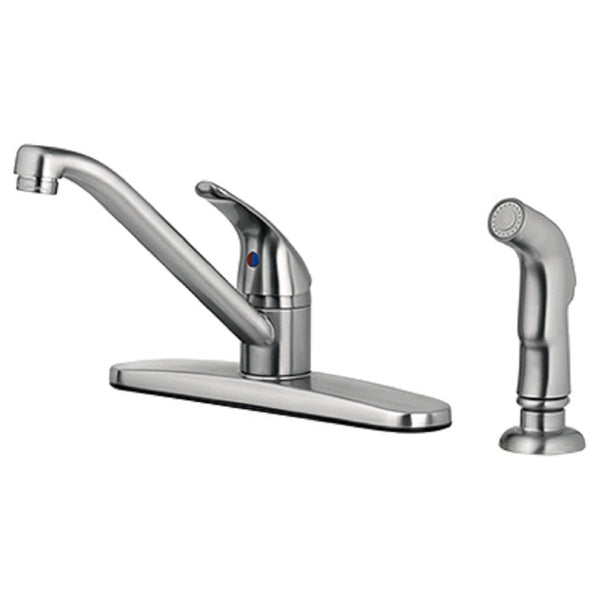Homewerks 67210-2504 Single Lever Handle Kitchen Faucet, Brushed Nickel