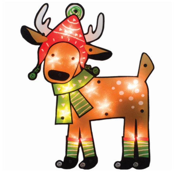 IG Design 95573D Christmas Lighted Shimmer Ornament Of Reindeer