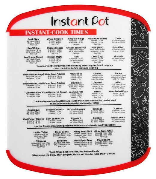 Instant Pot 5252278 Cutting Board With Insta Cook Times, Red