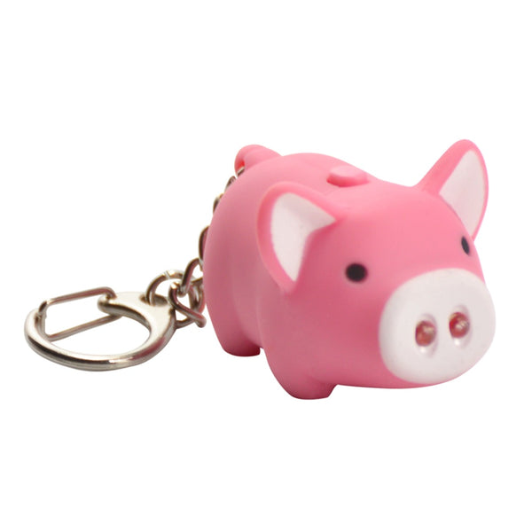 KeyGear 50-KEY0006 Pig Key Chain With LED Light, Pink/White