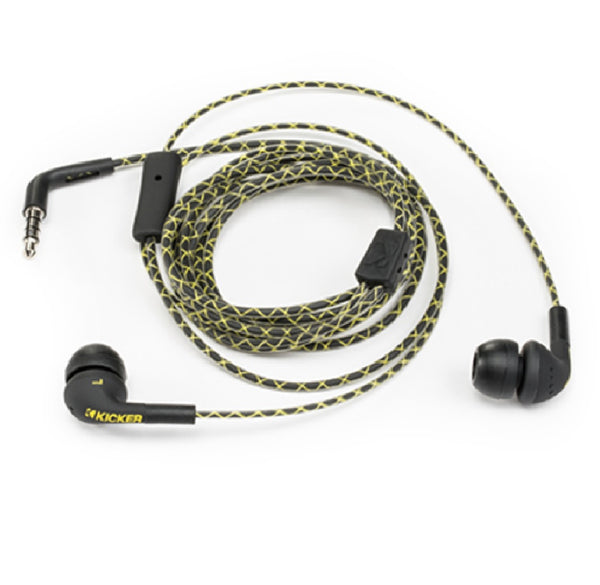 Kicker 46EB74 Flow Earbuds, Black/Yellow