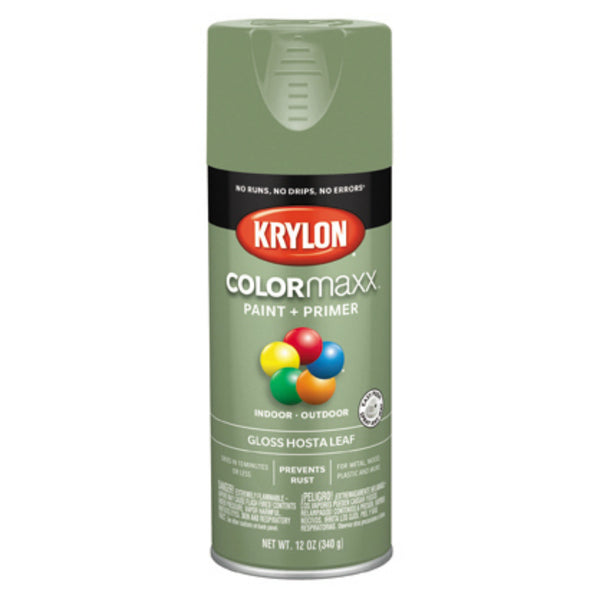 Krylon K05522007 COLORmaxx Spray Paint + Primer, Gloss Hosta Leaf, 12 Oz