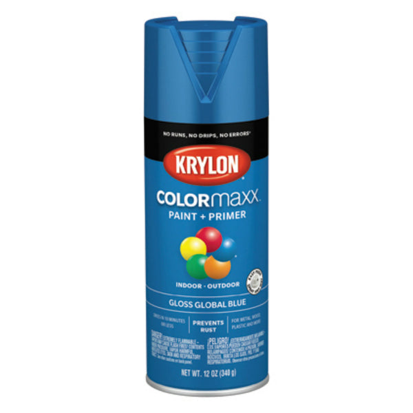 Krylon K05520007 COLORmaxx Spray Paint + Primer, Gloss Global Blue, 12 Oz