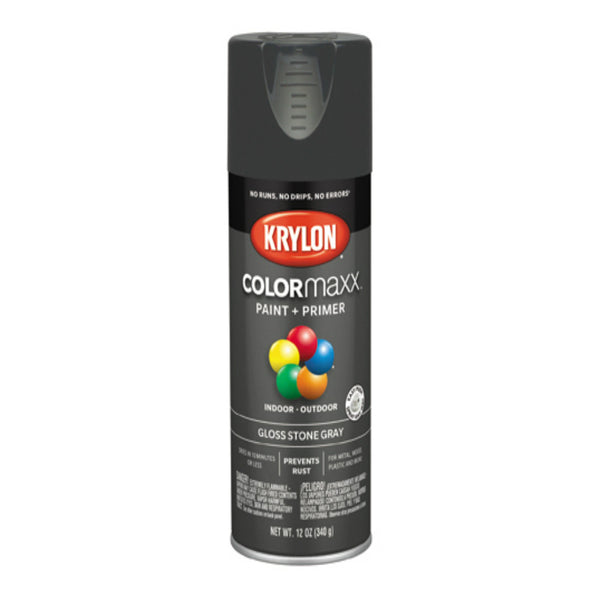 Krylon K05540007 COLORmaxx Spray Paint, Gloss Stone Gray, 12 oz