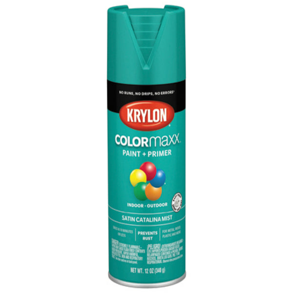 Krylon K05561007 COLORmaxx Spray Paint, Satin Catalina Mist, 12 Oz