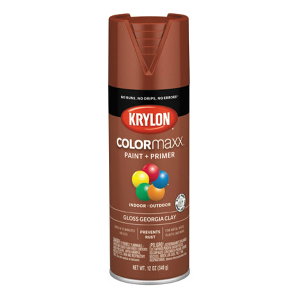 Krylon K05519007 COLORmaxx Spray Paint, Gloss Georgia Clay, 12 Oz
