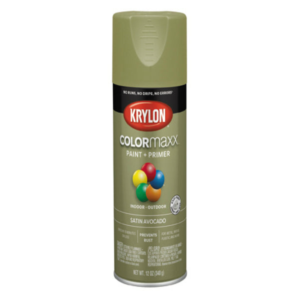 Krylon K05555007 COLORmaxx Spray Paint, Satin Avocado, 12 Oz