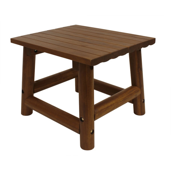 Leigh Country TX36010 Amber-Log Rectangular End Table, Brown