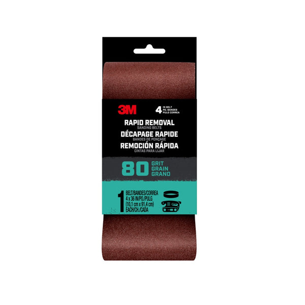 3M 27385 Rapid Removal Sanding Belt, 80 Grit