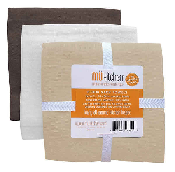 MUkitchen 6603-1786 Flour Sack Towels, Cotton, Assorted Colors