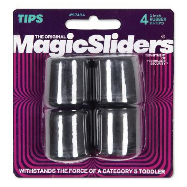 "Magic Sliders 97484 Furniture Rubber Leg Tips, 1"", Black"