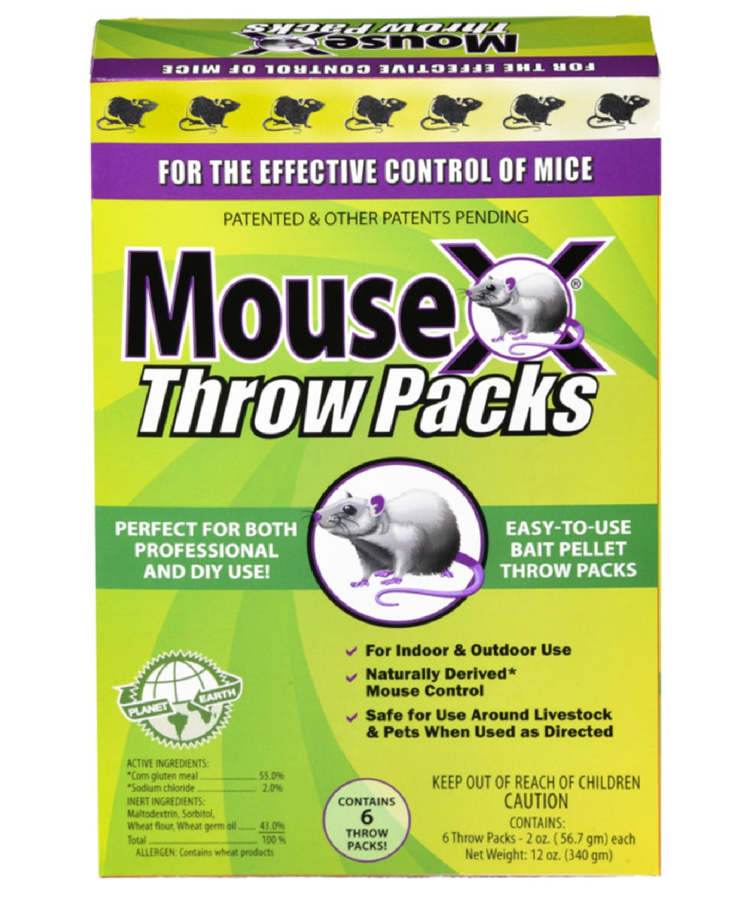 MouseX 620206 Throw Packs Bait Pellets For Mice, Pack Of 6