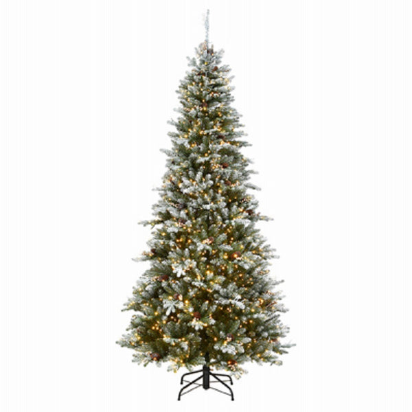 National Tree PEMG3-DK10-75 Feel Real Snowy Artificial Hinged Tree, 7.5 Feet