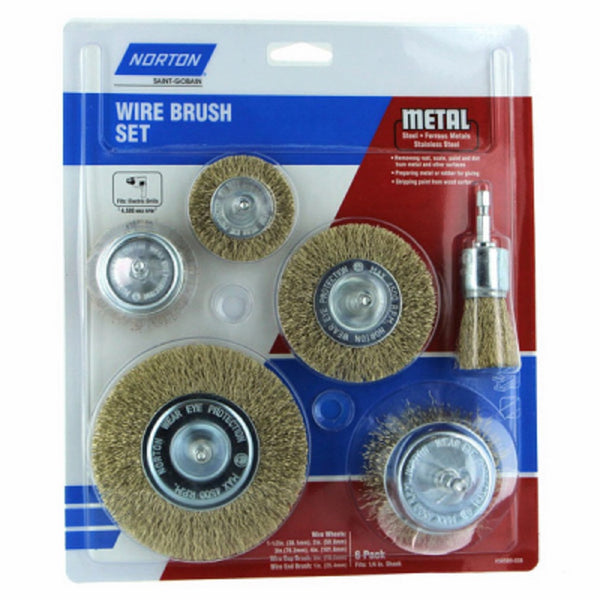 Norton 50589-038 Wire Brush Cup Set, 6 Piece