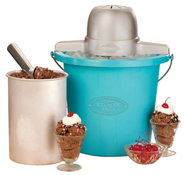 Nostalgia PICM4BG Old Fashioned Ice Cream Maker, Blue