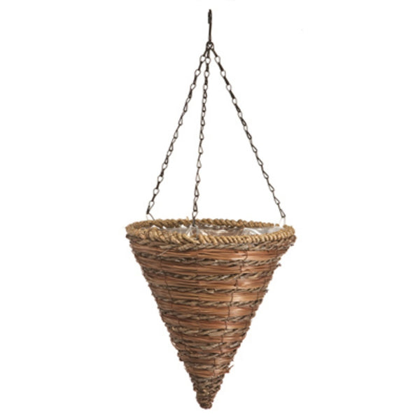 Panacea 88636GT Green Thumb Rope & Fern Cone Hanging Basket, 12 inch D