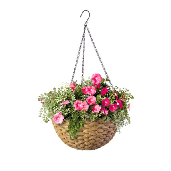 Panacea 82305GT Green Thumb Round Resin Wicker Hanging Basket, 14 inch