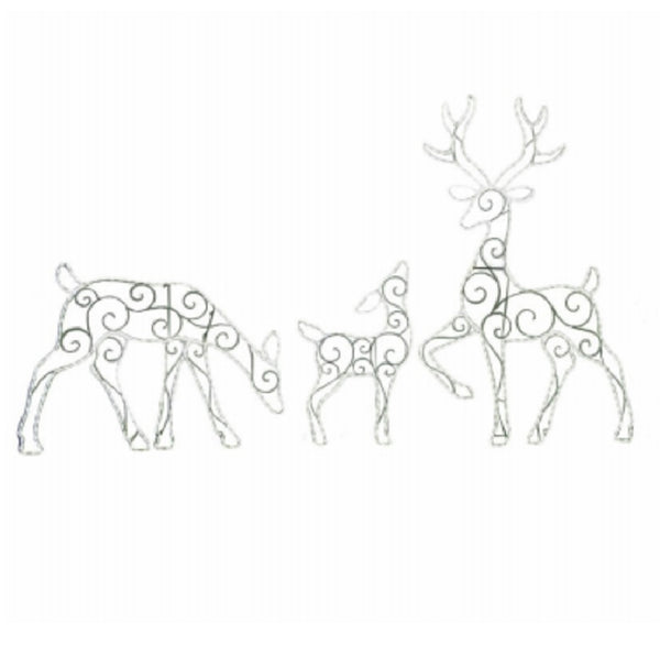 Puleo 315-YD0819L/3 Christmas Wire Frame LED Deer, 3 Piece