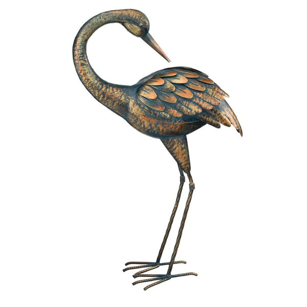 Regal Art & Gift 11293 Patina Preening Crane Statue, 21.5""