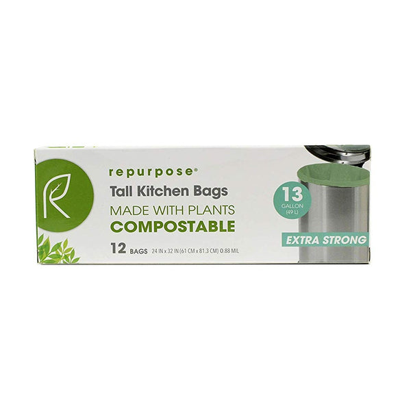 Repurpose RPR.TRS.1312.MP20 Compostable Tall Kitchen Bags, 13 Gallon