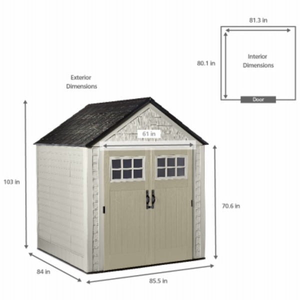 Rubbermaid 2035896 Shed, 7 Feet x 7 Feet