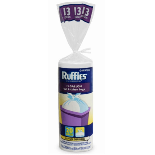 Ruffies 964176 Tall Kitchen Trash Bags, 13 Gallon