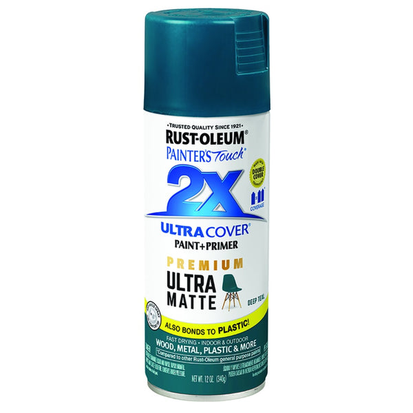 Rust-Oleum 331185 Painter's Touch 2X Ultra Cover Premium Paint + Primer Spray Paint, 12 Oz