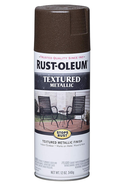 Rust-Oleum 262660 Textured Metallic Spray Paint, Mystic Brown, 12 Oz