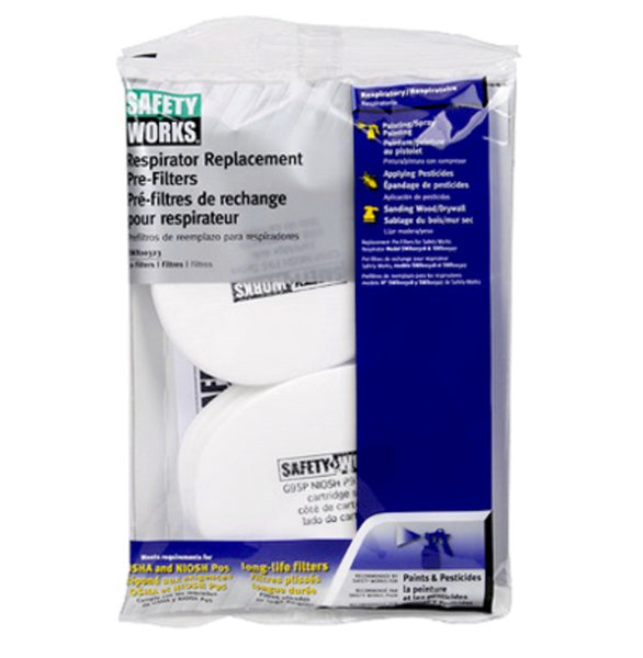 Safety Works SWX00323-2 Paint & Pesticide Replacement Pre-Filters, White