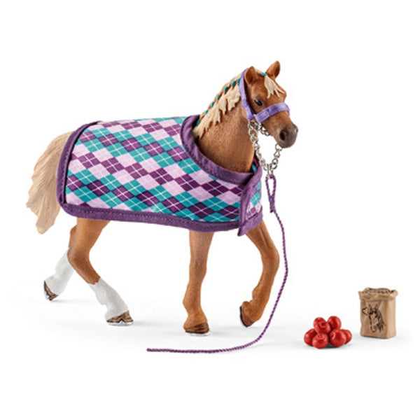 Schleich 42360 English Thoroughbred With Blanket Toy, Assorted Color