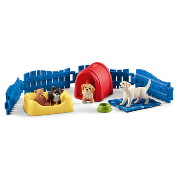 Schleich 42480 Puppy Pen Toy, Vinyl Plastic, Assorted Color