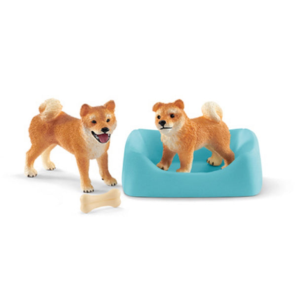 Schleich 42479 Shiba Innu Mother & Pup, Assorted Color