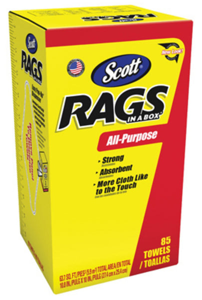 Scott 52782 Rags In-A-Box with Easy Pop-Up Dispenser, White, 85-Count