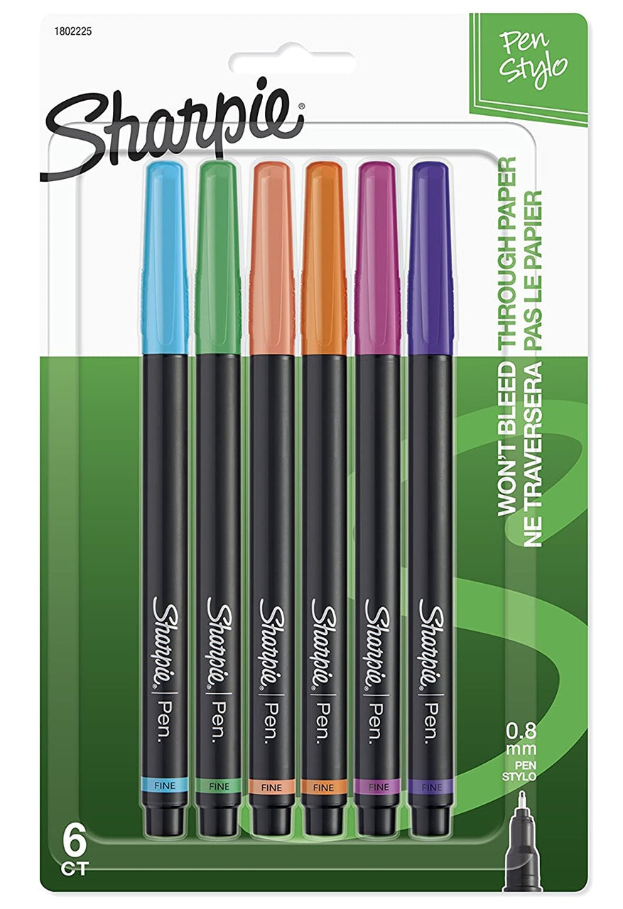 Sharpie 1802225 0.8 MM Point Pens, Assorted Colors