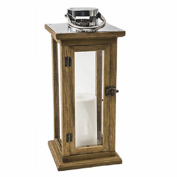 Sterno GL28375LB Oak Lantern With Stainless Steel Top, 15 Inch