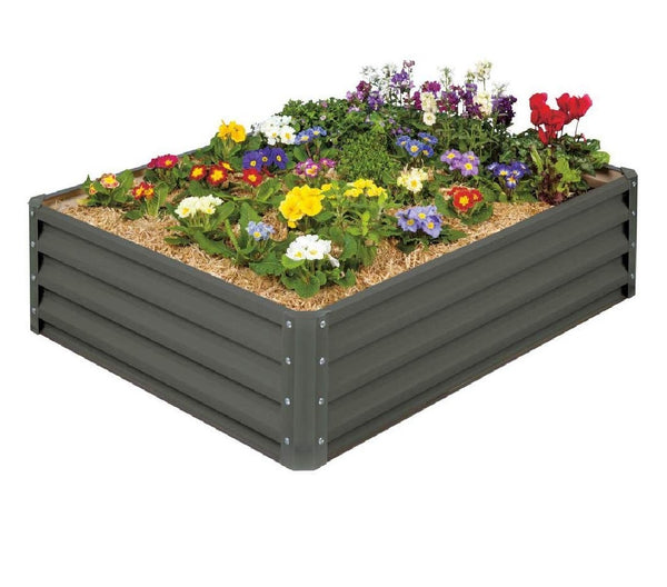 Stratco LG18424 Metal Raised Garden Bed, Slate Gray