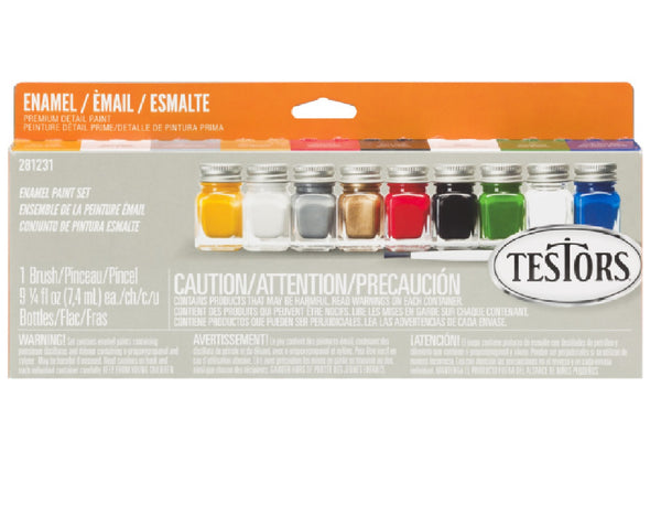 Testors 281231 Primary Colors Acrylic Paint Set, 9 Pc