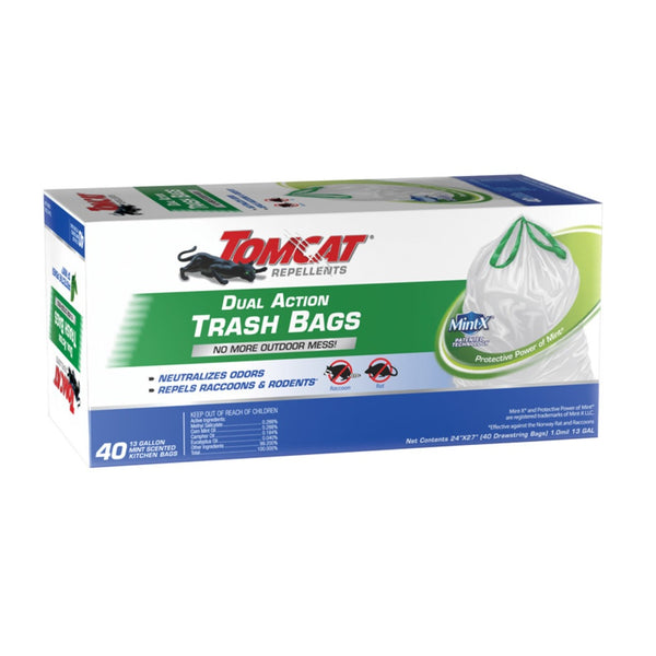 Tomcat 0492240 Mint X Dual Action Trash Bags, 13 Gallon Capacity
