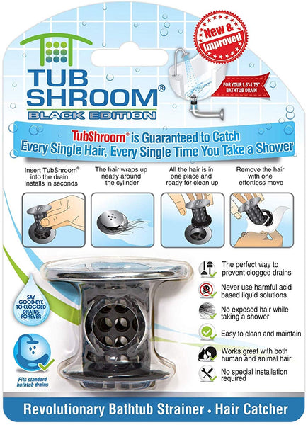 TubShroom TSBLK325 As Seen On TV Bathtub Drain Protector