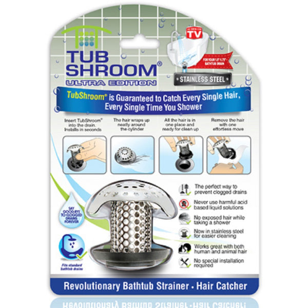TubShroom TSULT1X95 Ultra Drain Hair Snare Catcher, Stainless Steel